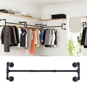 Industrial Pipe Wall Mounted Garment Rack Clothes Rail Storage Hanging Hanger UK