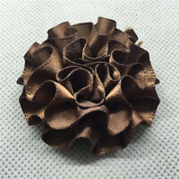 5pcs d-coffee satin ribbon big Peony Flower Appliques/craft/Wedding decoration!