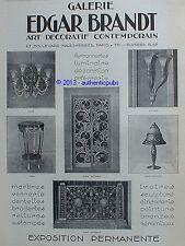 PUBLICITE EDGAR BRANDT FERRONNERIE ART LUMINAIRE ORFEVRERIE DE 1926 FRENCH AD