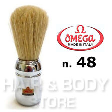 Pennello barba OMEGA n.48 professionale in setola manico cromato parrucchiere
