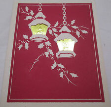 Vintage Christmas Greeting Card 1949 Gold Lanterns Best Wishes New Year