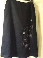 Preloved  Ladies Pure Linen Beaded Black Skirt Fully Lined Skirt in size 18