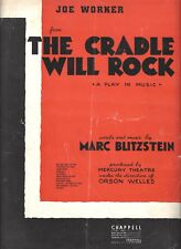"Marc Blitzstein ""CRADLE WILL ROCK"" Orson Welles 1938 Mercury Theatre Sheet Music"