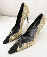St John Italy Snake Print Leather Oxford Lace Point Toe Pump Heels Women's 10 B