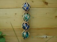 4 Blown Glass Floats In Rope Net Blue & Turquoise Ball Fishing Boat Wall Hanging