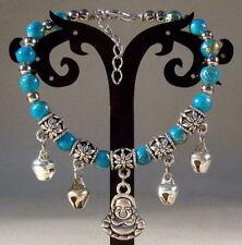 New Unique design Handmade Tibetan Silver Lucky Blue Bracelet Bangle