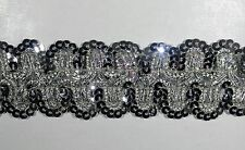 """1.5"""" STRETCH SEQUIN BRAID TRIMMING - COLOR: SILVER  - 10 Continuous Yards"""