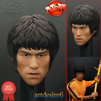 """1/6 Scale Bruce Lee Head Sculpt For Hot Toys Figure Body for 12"""" Action Figure"""