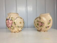 Cambridge Crown Tuscan Hand Painted Charleton Shell Vases Antique Early 1900s