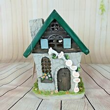 Solar Fairy House Enchanted Garden Knome Light up Grey Stone White Flowers  6""