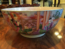 A MONUMENTAL CHINESE FAMILLE ROSE MANDARIN PUNCH BOWL.