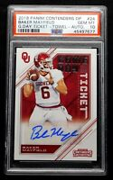 "2018 Autograph GameDay Ticket PSA 10 GEM MINT Baker Mayfield Rookie ""Flawless"""