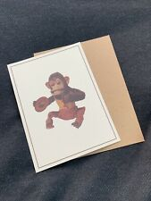Vintage C.K Japan Chimp Cymbal Playing Monkey Greeting Card NEW