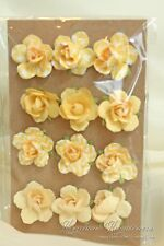 Recollection 12pc YELLOW PAPER ROSE FLOWER EMBELLISHMENTS New Michaels