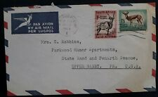 1960 South Africa Airmail Cover ties 2 stamps cancelled Johannesburg