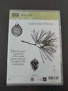 Stampin Up ORNAMENTAL PINE Stamp Set - Christmas Wishes - Set 6 Stamps Retired