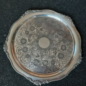 Antique Viners of sheffield Alpha plate chased tray 36 mm wide