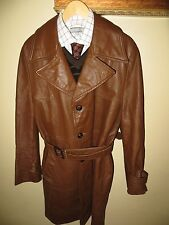 Reed Mens Brown Long Fight Club 70s Belt Trench MOD Leather Jacket Car Coat 40 R