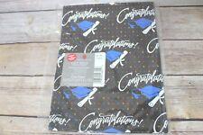 New Vintage American Greetings Graduation Flat Gift Wrap Black Diploma 8.33 ft