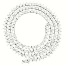 Unisex Bling 3 Prong 4mm 1 Row Tennis Necklace Silver Finish Lab Diamonds