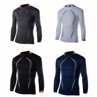 Long Sleeve Thermal Gym Sports Shirt Mens Compression Base Layer Top