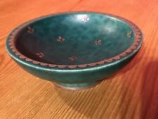 Gustavsberg Argenta Swedish Pottery Small 10cm Round Dish Green Silver inlaid