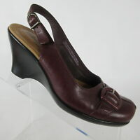 Clarks Maroon Leather Wedge Sandals Shoes Slingback Heels 77665 Size 6.5 M