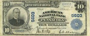Florida Pensacola $10 Dollars American National Bank National Currency 1902
