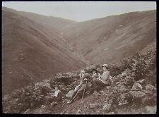 Glass Magic Lantern Slide EDWARDIAN FAMILY IN HILLS DATED 1915 PHOTO