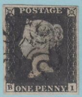 GREAT BRITAIN 1 PENNY BLACK 4 MARGINS 1840 NO FAULTS EXTRA FINE !