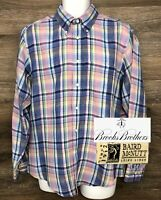 Brooks Brothers Regent Mens 100% Irish Linen Pink Blue Plaid Long Sleeve Shirt L