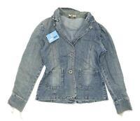 Portbello Punk Womens Size 12 Denim Blue Midweight Distressed Jacket
