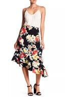 Bobeau Skirt Medium Black Floral Asymmetrical Ruffle Hem