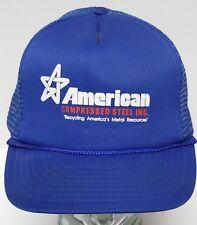 Vtg 1990s American Compressed Steel Recycling Metal Snapback Trucker Navy Hat