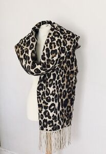 Ladies Luxcury Cashmere & Cotton Leopard Print Scarf/Wrap By panthers