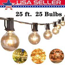 25FT G40 Globe 25 Bulbs Festoon Patio String Light Outdoor Party Waterproof Yard
