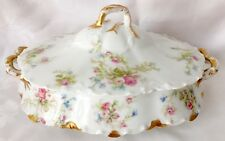 HAVILAND LIMOGES FACTORY DECORATED RANSON VEGETABLE DISH, PINK ROSES, BLUE 22309