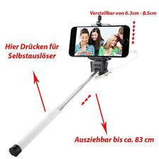 IOS & Android Selfie Stick Selbstauslöse für iPhone Samsung Halterung Halter Wei