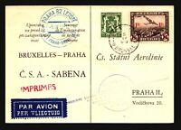 Belgium 1937 First Flight Card Brussles to Prague - Z18005