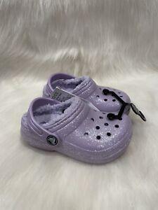 NEW Crocs Purple Glitter Sparkle Fur Lined Clog Shoes size C 8 NWT