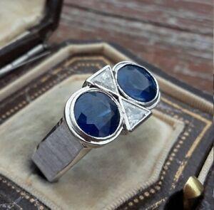 14K White Gold Modern and Sleek Twin Engagement Wedding Ring 3.1 Ct Sapphire