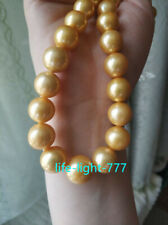 """Huge AAA+ 18"""" 15mm Real Natural South Sea Gold Round Edison pearl necklace 14K"""