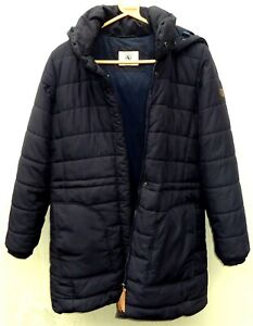 Lovely Aigle navy blue long quilted puffa jacket with detachable hood size 12 14