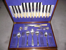 ART DECO SIR JOHN BENNETT 52 piece CUTLERY SET in ORIGINAL LINED CANTEEN BOX vgc