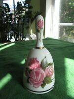 """Porcelain Bell Danbury Mint Mother's Day 1980 Limited Edition Pink Roses Gold 6"""""""