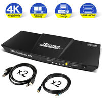 4K@60Hz HDMI KVM Switch Dual Monitor Extended Display with Audio Mic Output