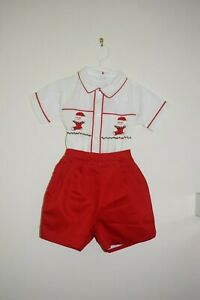 NWT Christmas Santa Hat Outfit Smocked Big Boy 3T