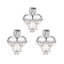 5x Silver/Gold Heart Crown Pearl Cage Locket Pendant Oil Diffuser DIY Necklace