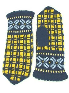 LATVIAN New Hand Knit 100% Wool Mittens Womens Sz Teal Baby Blue & Yellow Gift