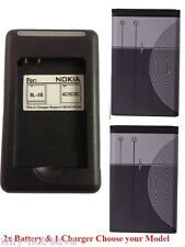 2x Replacement Cellphone phone battery BL-5C and wall charger for Many Nokia